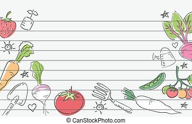 légume, papier, jardin, illustration, dessins