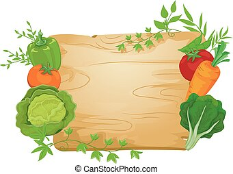 légume, planche, illustration, signe
