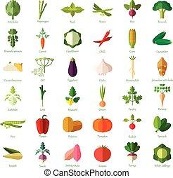 légume, plat, ensemble, icônes