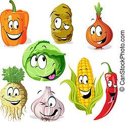 légume, rigolote, dessin animé, épice