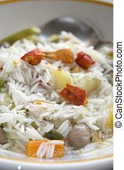 légume, riz, minestrone, basmati