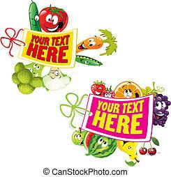 légume, sain, fruit, étiquette