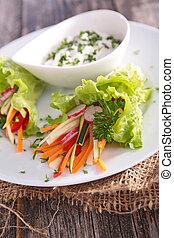 légume, sauce, salade