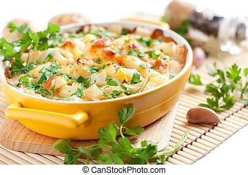 légume, tarte, cuit, dans, les, four
