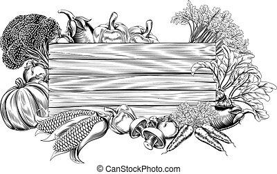 légume, vendange, retro, woodcut, signe