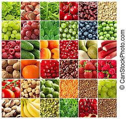 légumes, arrière-plans, fruits