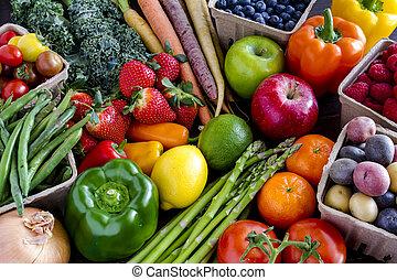légumes, assorti, fond, fruits