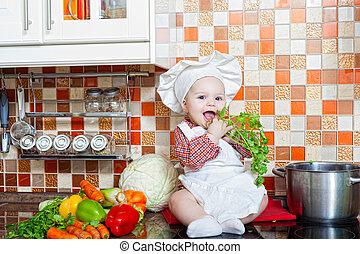légumes, bébé, cuisinier, table, assied, cuisine