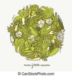 légumes, balle, vert