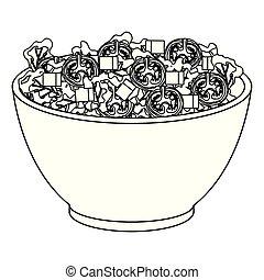 légumes, céramique, bol, salade