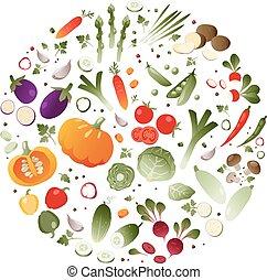 légumes, cercle, forme
