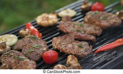 légumes, close-up., boeuf, gril, bifteck, grillé
