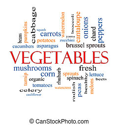 légumes, concept, mot, nuage