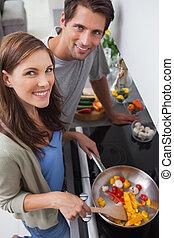 légumes, couple, cuisine, cuisine