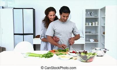 légumes, couple, manger