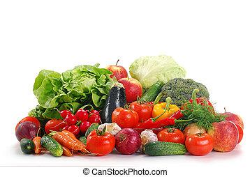 légumes crus, isolé, blanc