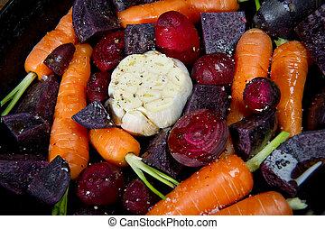 légumes crus, racine, détail