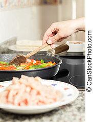 légumes, cuisine, closeup, femme, poulet, moule