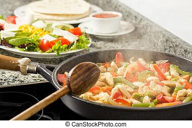 légumes, cuisine, poulet, moule, cuisine