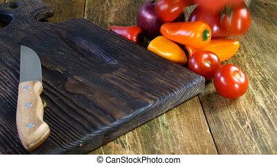 légumes, cuisiniers, végétarien, bag., différent, ou, lancement, salade, job., cuisine, papier, vegan