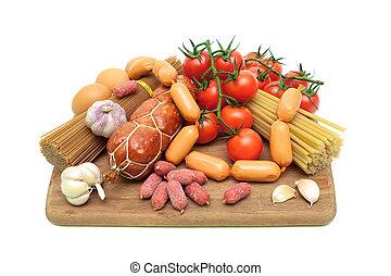 légumes, découpage, saucisses, pâtes, planche