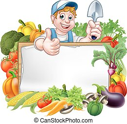 légumes, dessin animé, jardinier, signe