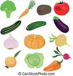 légumes, ensemble, dessin animé