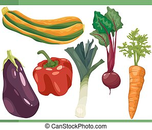Légumes, ensemble, dessin animé,  Illustration