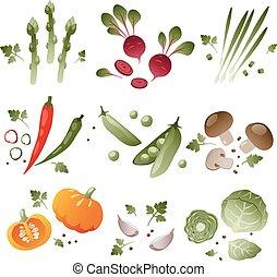légumes, ensemble, fond blanc