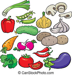 légumes, ensemble, icône