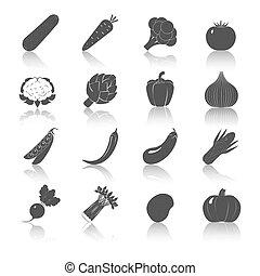 légumes, ensemble, noir, icônes