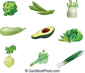 légumes, ensemble, vert