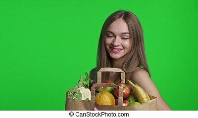 légumes, entiers, sac, femme, fruits, achats, sourire