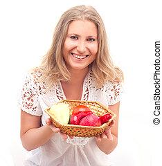 légumes, femme, fruits