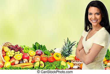 légumes, femme, jeune, fruits.