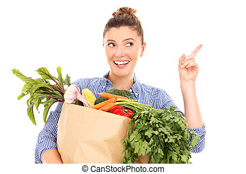 légumes, femme, quelque chose, pointage, heureux