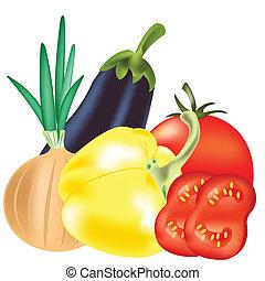 légumes, fond blanc