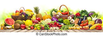légumes, fond, fruits