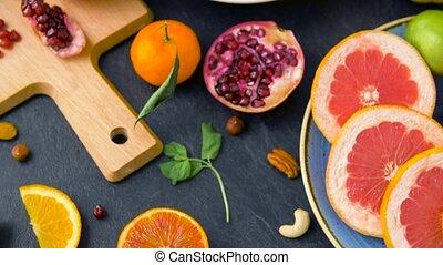 légumes, fou, haut fin, fruits, table