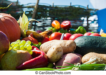 légumes frais, fond, fruits
