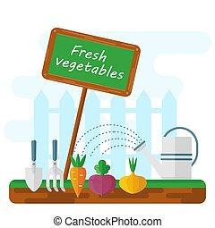 légumes frais, lit
