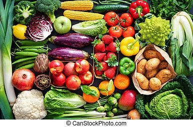 légumes frais, organique, assortiment, fruits, fond nourriture
