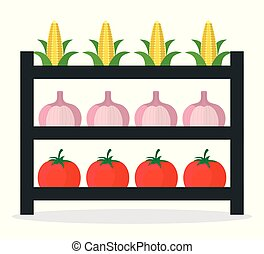 légumes frais, stalle, marché