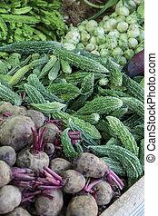 légumes frais, sur, les, marché