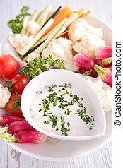 légumes frais, trempette