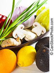 légumes, fruits assortis
