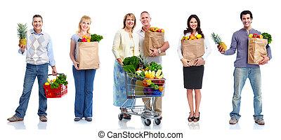 légumes, fruits., gens
