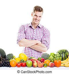légumes, fruits, modèle, fitness