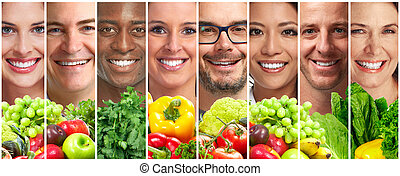 légumes, gens, fruits
