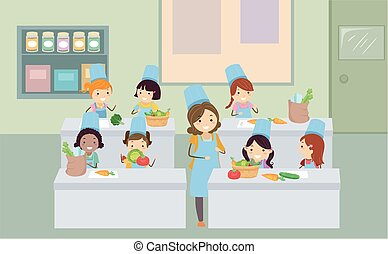 légumes, gosses, stickman, cuisine, classe